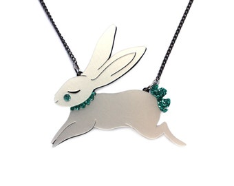 Jumping Bunny Necklace- Pearlescent hand painted acrylic laser cut illustration - rabbit jewellery jewelry