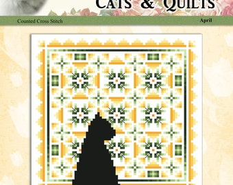 Cats And Quilts April Original Counted Cross Stitch Pattern by Pamela Kellogg