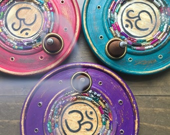 OM Incense Burner with Glass Mosaic - Choose Your Color