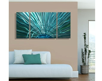 Modern Multi Panel Metal Wall Art in Blue & Teal, Abstract Painting, Contemporary Home Decor, 3 panel piece  - Aqua Morning III by Jon Allen