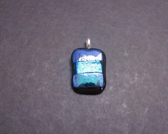 Blue in different hues Dichroic Glass on Black Glass Pendant
