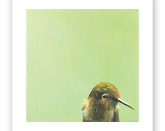 Some Call It Flying, I Call It Aerial Self-Flagellation - 8 x 8 hummingbird ART PRINT