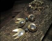 E1526 Labradorite and Brass Sterling Silver Seeing Eye earrings