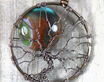 Fire Crack Agate Full Moon Tree of Life Pendant Green Teal Brown Agate Gemstone Wire Wrapped Jewelry Gunmetal Hematite Necklace Unique RTS