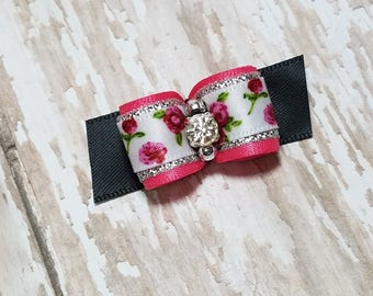 Dog Bow - Roses Pet Hair Bow - Flowers Dog Bows