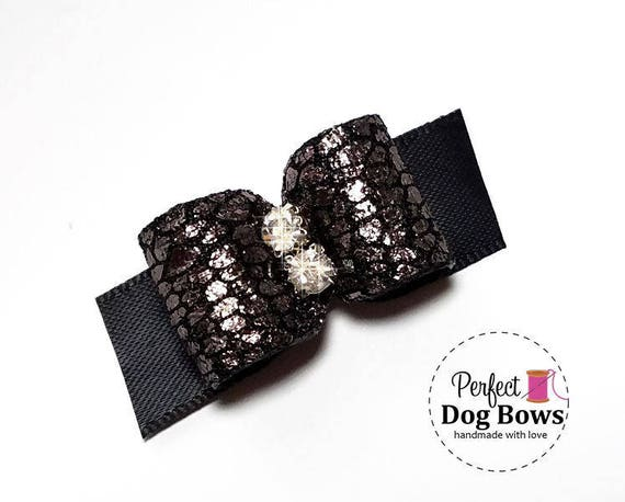 Bronze Dog Bow,  Black Formal Dog Bows, Show Dog Bow, Bows for Dog Groomers, Wedding Bow