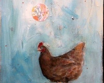chicken abstract mixed media acrylic  painting vertical long canvas