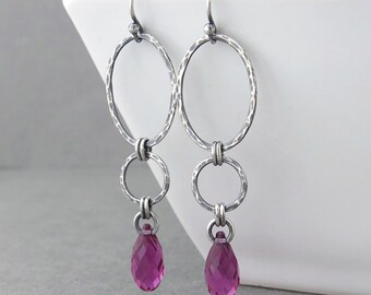 Hot Pink Earrings Long Dangle Earrings Pink Crystal Earrings Geometric Jewelry Silver Drop Earrings  Holiday Gift for Her - Adorned Aubrey