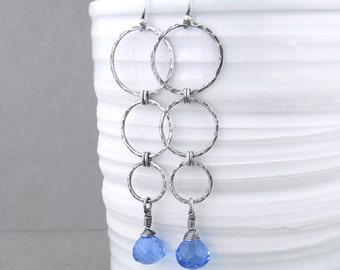 Long Blue Earrings Silver Dangle Earrings Sterling Silver Earrings Drop Earrings Unique Gift Idea for Her Boho Jewelry - Marilynn