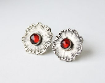 Garnet Earrings, sterling silver post earrings, red semiprecious etched flower jewelry