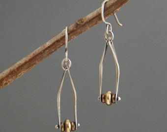 Petite Trapeze Earrings in Sterling Silver and Brass