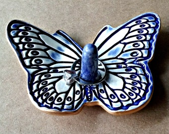 Ceramic Butterfly Ring Holder Dish Cobalt Blue and white edged in Gold