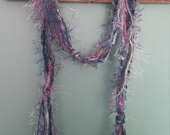 Fiber Boho Scarf,  Dark Blues, Dusty Pinks