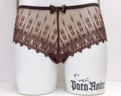 """CHARLOTTE """"Lace String Panty"""" - sexy sheer chocolate brown embroidery lace"""