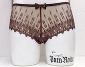 """CHARLOTTE """"Spitze String Panty"""" - sexy schiere Schokolade braun Stickerei-Spitze"""