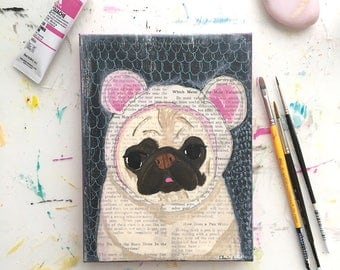 Pug Dog Art Original Painting, Pug Gift, Pug Decor, Pet Loss Gifts, Pet Lover Gifts, Funny Animal Art, Dog Artwork, Dog Lover Gift, Pug Art