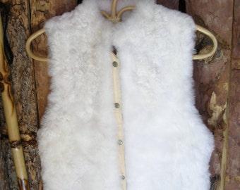 Vintage 70s White Rabbit Fur Vest Small