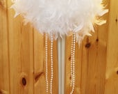 For PC 12 pc feather centerpiece top package, 8in.,white,silver,wedding, eiffel tower, prom,gatsby,communion,confirmation,crystals