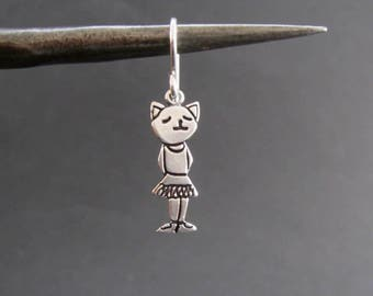Ballerina Earrings - Sterling Silver Ballerina Cat Earrings