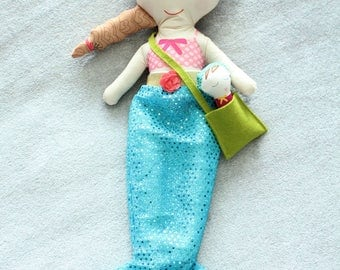 Mermaid Doll swim suit braid bag baby rag doll doll young girl birthday gift light brown hair cloth fabric blue sequin tail