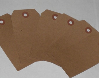"""Kraft Brown 4 3/4"""" x 2 3/8"""" Reinforced Hole Primitive Hang Tags Gift Tag Labels Promotion Scrapbooking Crafting Supplies Vendor Price Tags"""
