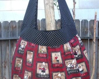 French Chef Tote, Birdie Sling Bag, HoboTote, Boho Tote Bag, Shoulder Bag, Boutique Purse, Soft Padded Bag, Fabric Market Tote, Grocery Bag