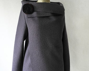 Slate gray jacket, gray wool jacket, boiled wool jacket, minimal gray jacket
