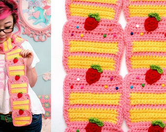 Strawberry Cake Scarf - Made to order