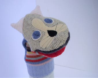 Mitten style kitty hand puppet named Teasel