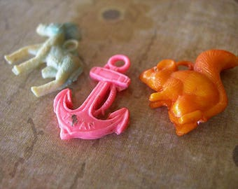 Lot of 3 Vintage Celluloid Cracker Jack or Gumball Charms miniature prize 1940s 1950s DONKEY SQUIRREL and ANCHOR