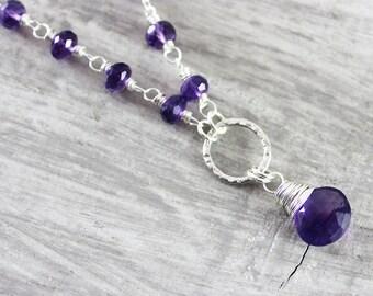Amethyst Silver Necklace, Purple Amethyst Necklace, Sterling Silver Necklace, Wire Wrap Necklace, February Birthstone Necklace, Dark Purple