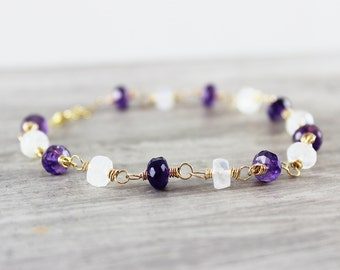 Moonstone Gold Bracelet, Beaded Gemstone Bracelet, Wire Wrap Bracelet, Gold Filled Bracelet, Rainbow Moonstone Bracelet, Purple Amethyst