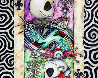 Jack Skellington Nightmare Before Christmas art print as Jack of Clubs Playing Card