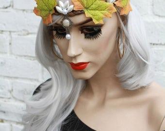 Falling Leaves Pagan Goddess Psytrance Fairy Pixie Leaf Crown Headband