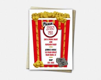 Popcorn Party Invitations, Birthday Invitation, Party Invitation, Movie Night Invitation, Popcorn, Invitation, Popcorn Party Invitation