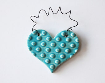 Turquoise blue ornament - one ceramic clay heart - handmade, ready to mail