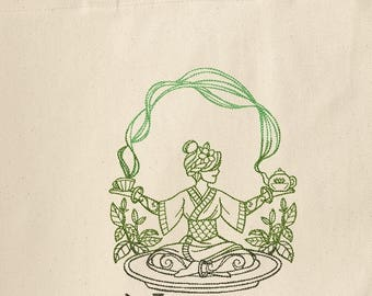 Personalized Tea Goddess Embroidered Canvas Tote Bag Tea Time Tea Lover