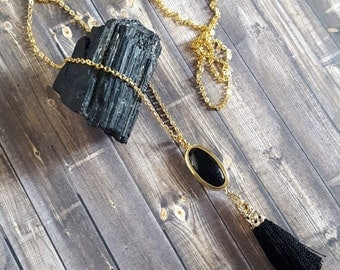 Tassel Necklace, Black Tassel Necklace, Long Necklace, Yoga Style, Mala Jewelry, Long Black Necklace, Black and Gold Necklace, Tassels