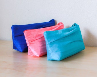 Satin or Faux Silk or Taffeta Pleated Bridesmaid Clutch- Flat Bottomed in 32 Colors