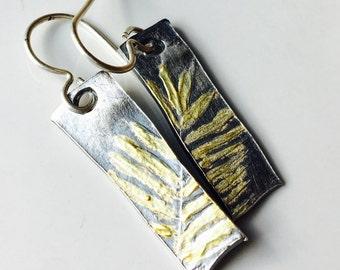 PMC Earrings, Fine Silver Earrings, Fern Frond Earrings, 22 KG, Kiln Fired, Dangle Earrings, Flora and Fauna