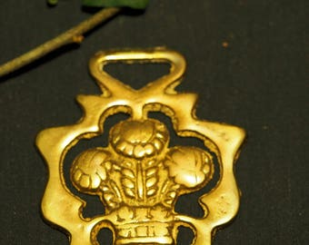 Vintage or Antique Prince of Wales Crest - Plume of Feathers Horse Brass  - For Royalty - Folk Magic, British, Pagan, - Rare