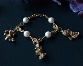 Raining Cats and Dogs Vintage Charm and Faux Pearl Bracelet / Animal Lover / Pet Lover / Kitten Puppy Charms