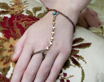 Star Gazer Hand Harness - Slave Bracelet - Celestial Jewelry - Gold Stars - Star Jewelry