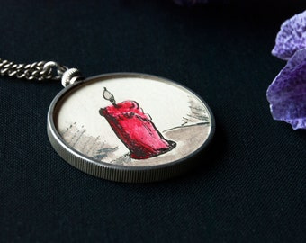 Lighthouse Man Double Sided Locket Necklace - Assemblage Collage Picture Locket - Vintage Silver Locket - memory necklace lockets