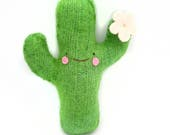 Green Flowering Saguaro Cactus - Recycled Wool Sweater Plush Toy