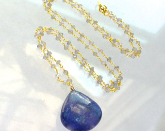 AAA Immense Tanzanite 67 Carat Focal Necklace with Labradorite in 14k gold fill...
