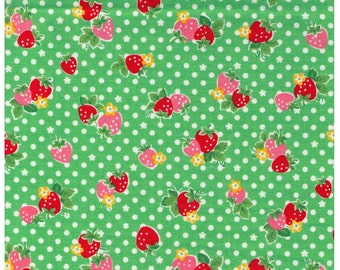 HALF YARD Yuwa - Red and Pink Strawberries on GREEN and White Polka Dots - Atsuko Matsuyama 30s collection - Daisies  Japanese Import Fabric