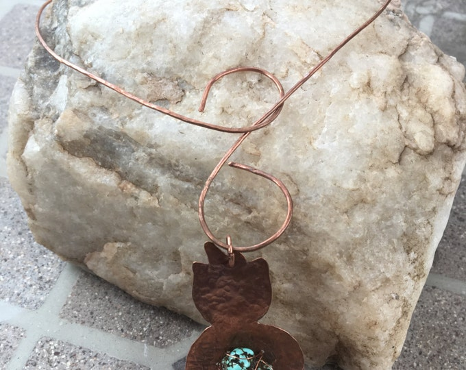 Copper and Turquoise Necklace * Adjustable Choker Necklace *Yoga Necklace * Choker