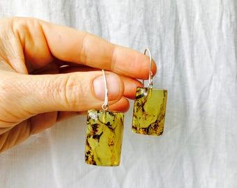 Amber Slab Earrings with Sterling Silver Earwire