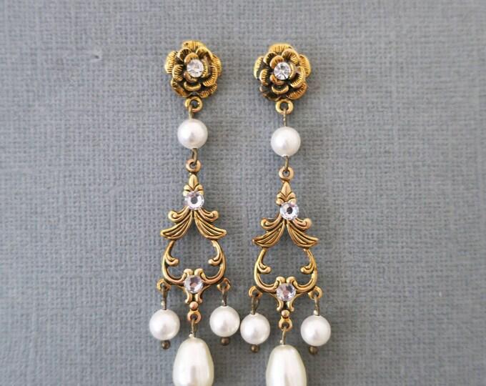 Gold Chandelier Pearl Earrings